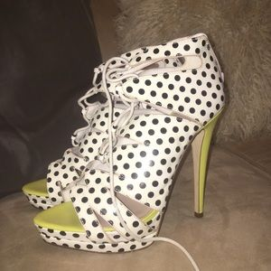 Lace up polka dot heels